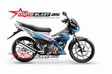 Striping Satria Fu Variasi by Modif Striping Suzuki Satria Fu Blue White 2014 Motoblast