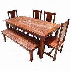 rustic solid wood santa dining table set