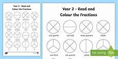 fraction worksheets year 2 free 4176 year 2 fractions read and colour worksheet made