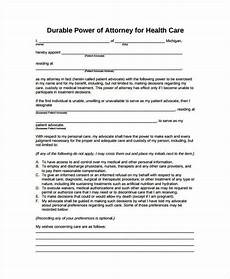 9 medical power of attorney forms free sle exle format free premium templates