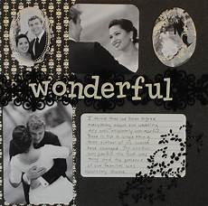 black and white quot wonderful quot wedding scrapbook layout crafting couture