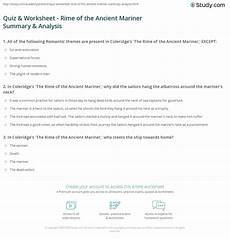 the rime of the ancient mariner worksheet answers quiz worksheet rime of the ancient mariner summary analysis study com