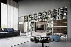 wohnzimmer ideen tv moderne tv wohnwand mit b 252 cherregal livitalia mit