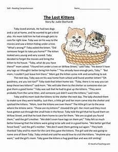 writing stories worksheets for 3rd grade 22271 the lost kittens reading comprehension worksheet teaching
