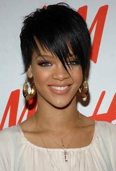 Rihanna Boy Cut Hairstyles rihanna boy cut black hairstyle with fringed bangs