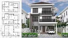 house plans 8 5x13m with 6 rooms and 6 bathrooms full plans youtube