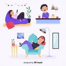 entspannen zu hause gezeichnete leute die sich zu hause entspannen der kostenlosen vektor