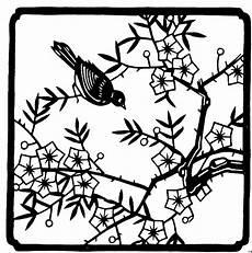 Malvorlage Vogel Auf Ast Vogel Auf Ast Japanisch Ausmalbild Malvorlage Blumen