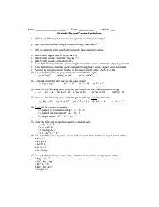 physical science periodic trends worksheet 13200 periodic trends worksheet answers 1 honors chemistry periodic trends worksheet name 1 circle
