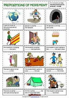 prepositions of movement english grammar worksheet ingilizce