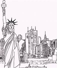 statue of liberty as landmarks in newyork coloring pages
