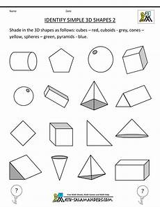3d shape worksheets identify simple 3d shapes 2 lectura