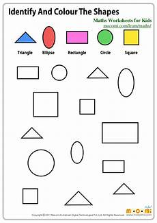 identifying shapes worksheets 1149 identify and colour the shapes maths worksheets for mocomi