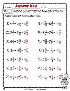 subtraction worksheets and answers 9985 adding subtracting mixed numbers test worksheet by gameroom