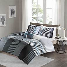 xl full queen bed black blue white plaid striped 4 pc comforter bedding comforters sets