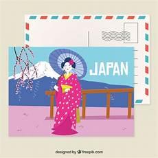 japan postcard template modello di cartolina giappone con stile disegnato a