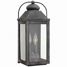 anchorage 9 1 4 quot w aged zinc two candle outdoor wall light 7v330 ls plus
