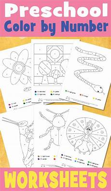 preschool color by number worksheets itsy bitsy fun