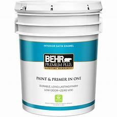behr premium plus 5 gal ultra pure white satin enamel zero voc interior paint and primer in one