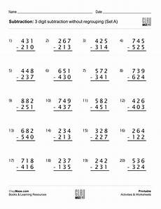 worksheets in subtraction with regrouping 10124 our free printable 3 digit subtraction worksheet with no regrouping 20 subtraction
