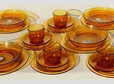vintage French kitchen glassware amber glass dishes set
