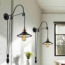 2019 black retro vintage adjustable pulley length iron glass reading wall ls e27 led lights