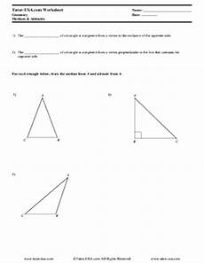 worksheet triangles concurrent lines altitudes and medians geometry printable