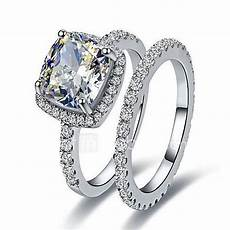 2ct cushion engagement ring sona diamond rings for infinity wedding band 925 silver