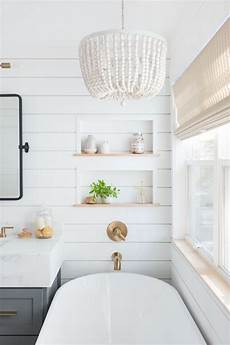 light airy bathroom with shiplap patterned tile mixed