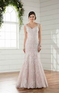 beaded fit and flare plus size wedding dress with silver lace essense of australia