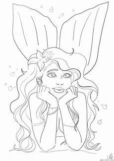 meerjungfrau ausmalbild und fensterbilder vorlage ella