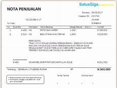 pengertian dan contoh nota penjualan doc satusgiga