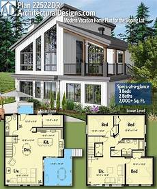 plan 22522dr modern vacation home plan for the sloping