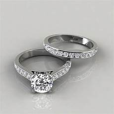cathedral engagement ring and wedding band puregemsjewels