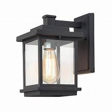 lnc square 1 light black outdoor wall lantern with clear glass shade a03156 the home depot