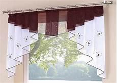 Küche Vorhänge Modern - 1 st kurzstore disques rideau 75 x 80 blanc marron voile