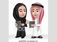 Vector Clipart   Arab kids characters boy and girl. Vector
