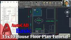 autocad house plan tutorial autocad 15x30 house floor plan tutorial for beginner youtube