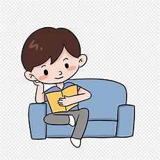 Budak Kartun Duduk Di Atas Buku Bacaan Sofa Gambar Unduh