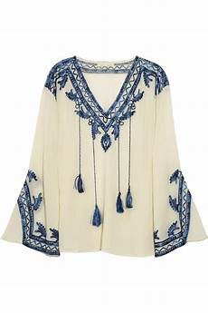 lyst love sam embroidered cotton blend blouse in blue