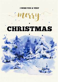 merry christmas illustration greeting card with winter landscape premium vector