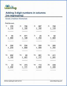 addition worksheets for grade 2 9521 grade 2 worksheet add two 3 digit numbers in columns no carrying k5 learning