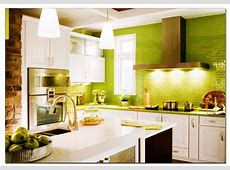 Small White Kitchen Highlighted Apple Green Tiles   Simone