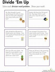 free division worksheets for year 2 6819 division word problems divide em up school math division third grade math teaching division