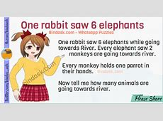 1 rabbit saw 6 elephants answer