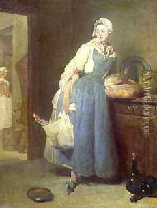 The Kitchen Jean Baptiste Simeon Chardin by The Kitchen With Provisions 1739 Painting