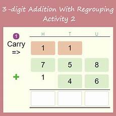 digits vertical addition with regrouping 3 digit addition with regrouping activity 2 3 digit