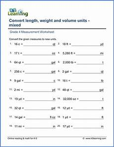 free printable measurement worksheets grade 4 1801 grade 4 math worksheet measurement convert length weight and volume k5 learning