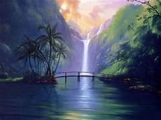 tropical island waterfalls sweet serenity bridge