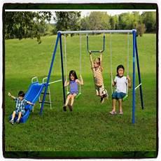 kid swing set swing set playground outdoor swingset play backyard slide